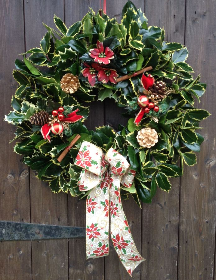 Designer Luxury holly wreath in Red and gold with poinsettia's
