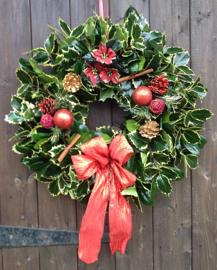 Designer Luxury Holly wreath with Red Baubles theme