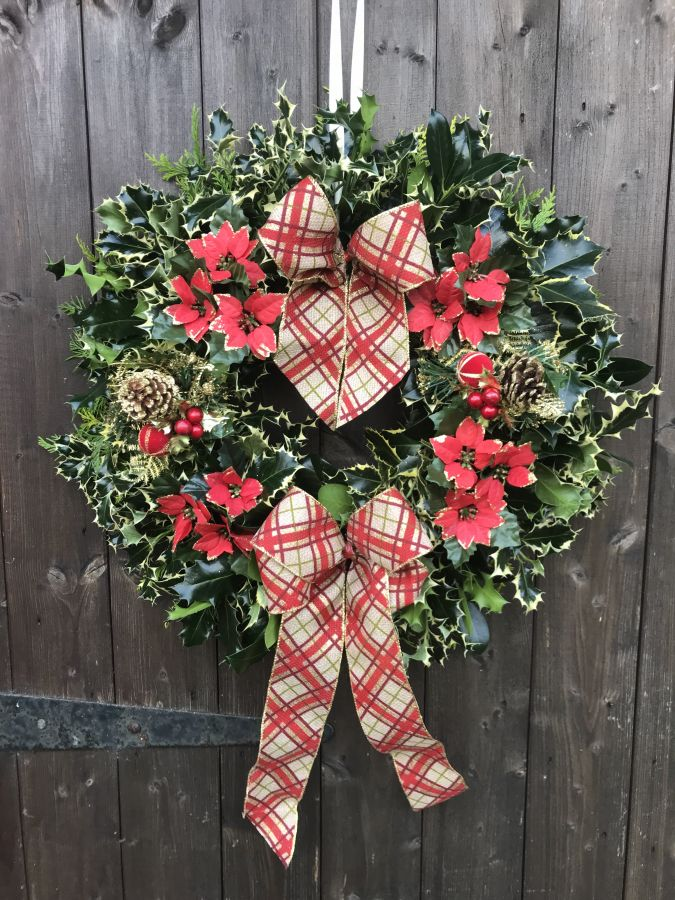 Designer Luxury holly wreath Red plaid