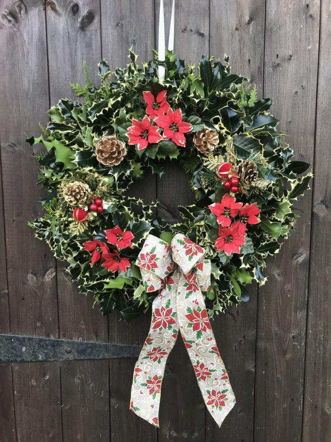 Designer Luxury holly wreath Red poinsettia