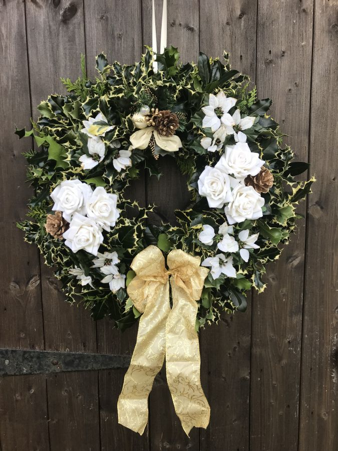 Designer Holly Wreath White and Gold