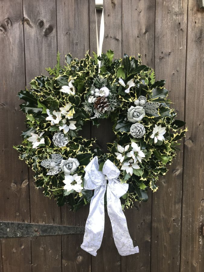 Designer Luxury holly wreath White and Silver