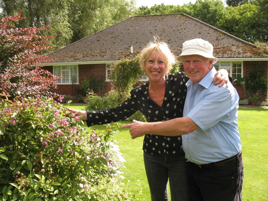 Carol and Richard with the mature plant