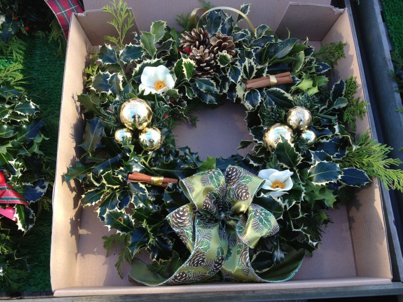 Designer Holly Wreath Ready for bubble wrap before sending mail order