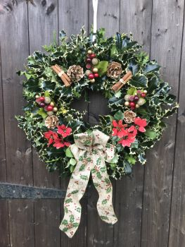 Taylors Clematis:  Designer luxury Holly Wreaths Gold Natural