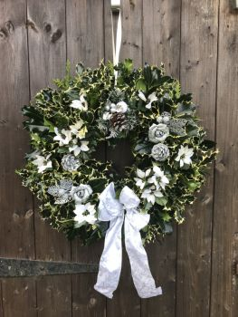 Taylors Clematis:  Designer luxury Holly Wreaths White and Silver
