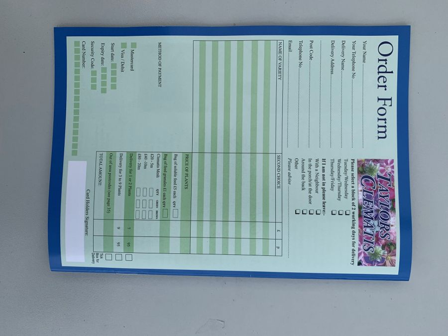 Taylors Clematis 2020 /2021 Catalogue back cover