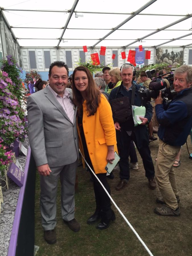 Me and Rachel de thame after filming cut flower clematis on BBC