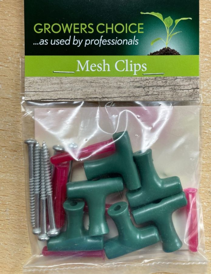 strong/sturdy garden mesh clips in packet